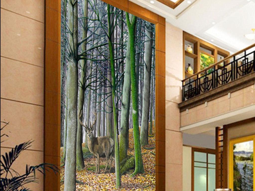 梦幻森林麋鹿玄关背景墙