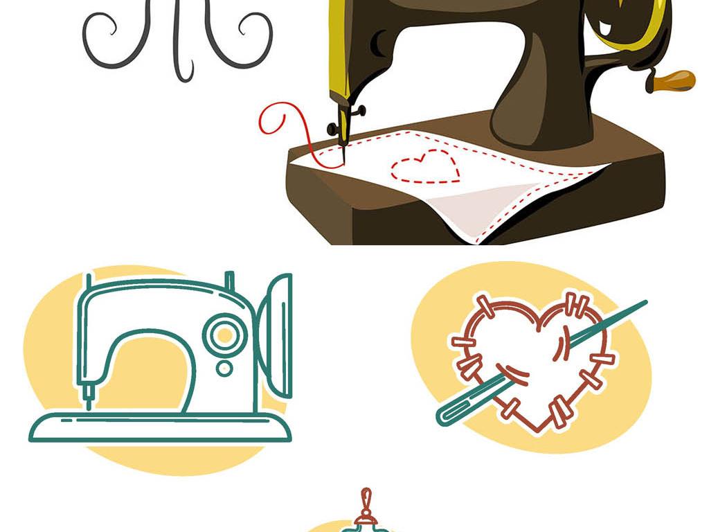 eps格式素材针线裁缝素材手绘人物手绘背景手绘墙手绘背景墙手绘花鸟