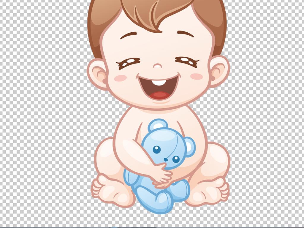 可爱小婴儿男孩女孩宝宝洗澡卡通矢量PNG图片