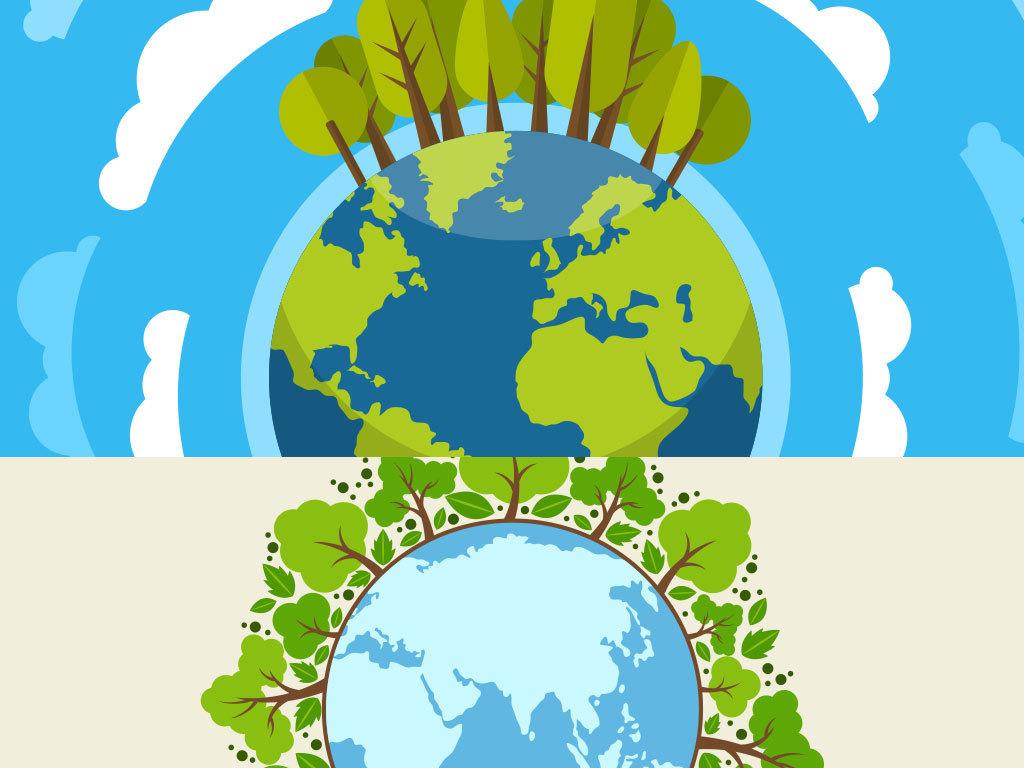 卡通环保低碳漫画地球背景图设计图片