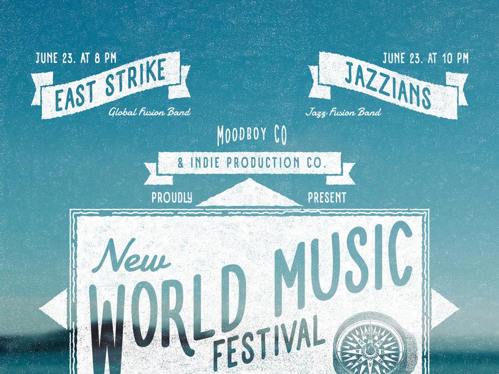 多样式复古手绘地图世界音乐节海报ps模板