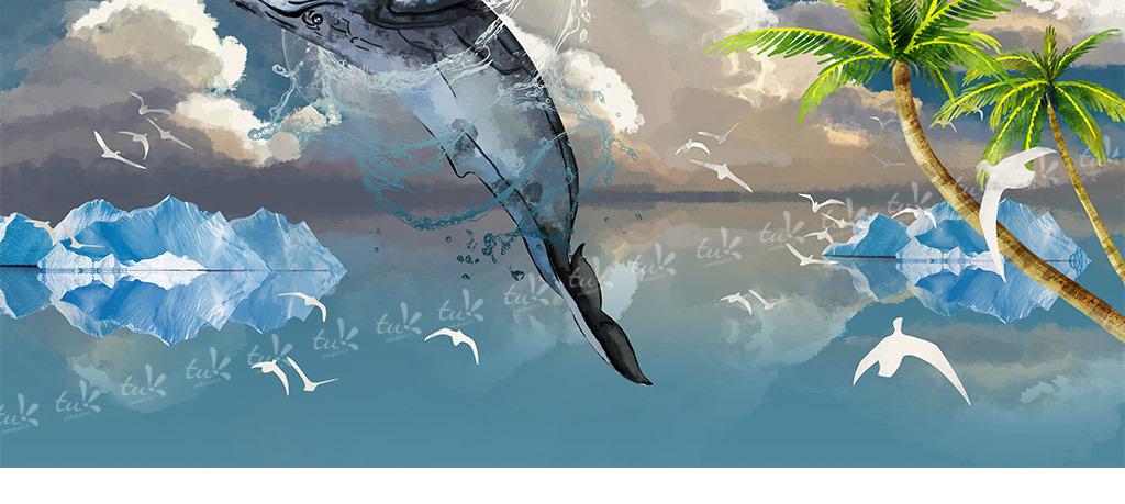 手绘蓝鲸冰山白云现代背景墙