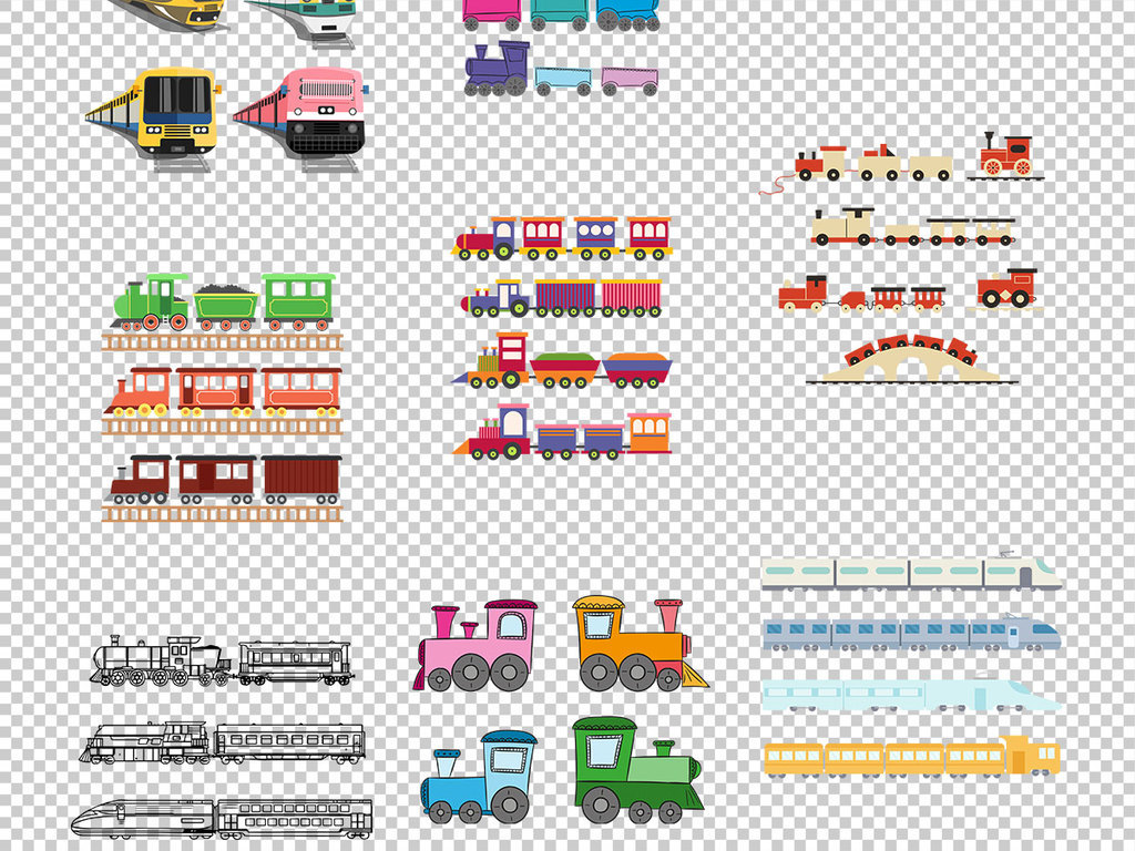 手绘火车列车插图免抠png透明素材
