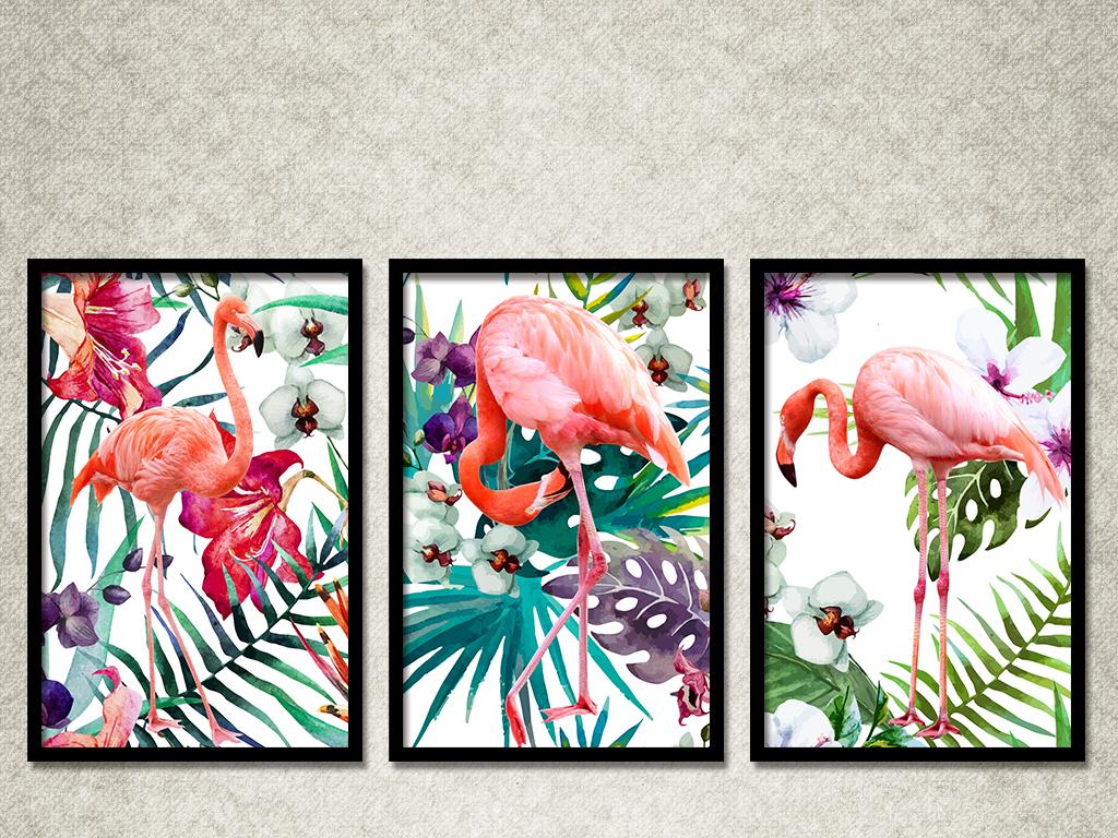 北欧火烈鸟植物热带植物梦幻田园热带手绘田园植物手绘田园手绘梦幻