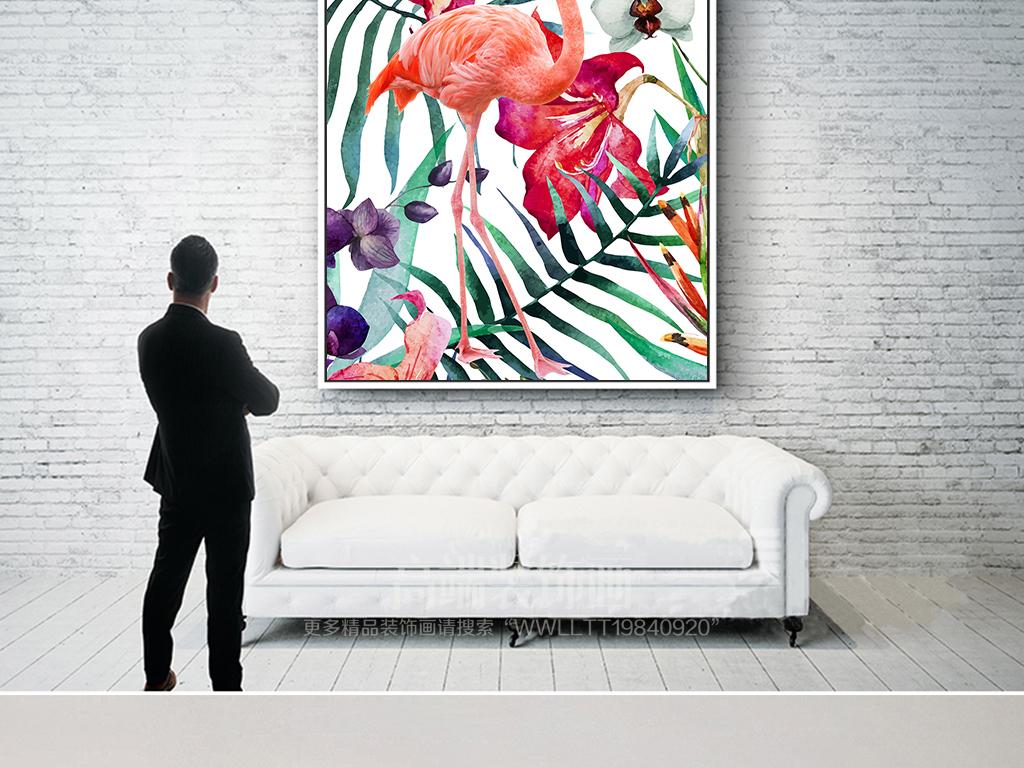 热带雨林手绘北欧火烈鸟植物热带植物梦幻田园热带手绘田园植物手绘