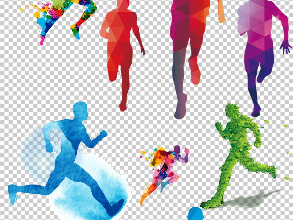 卡通彩色奔跑运动跑步人物剪影素材