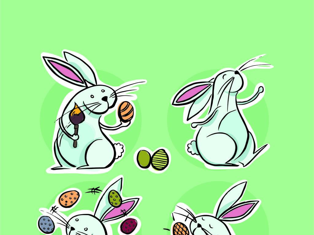 手绘动物兔子