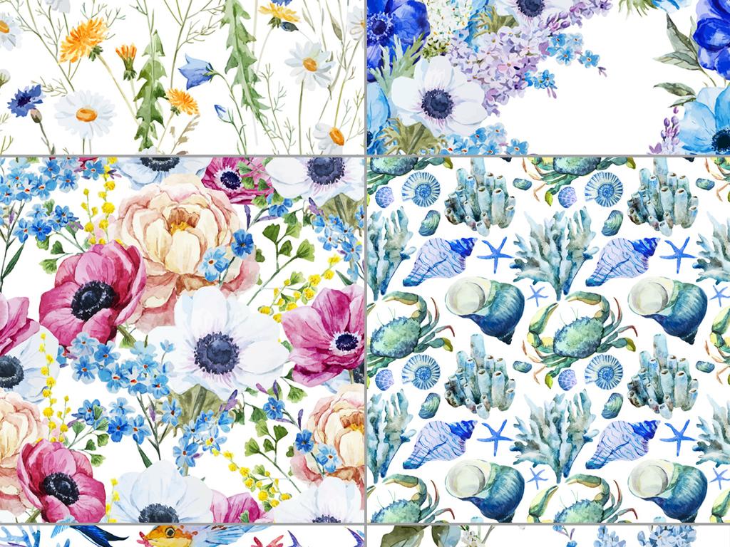 唯美水彩手绘花卉蝴蝶背景图案矢量设计素材