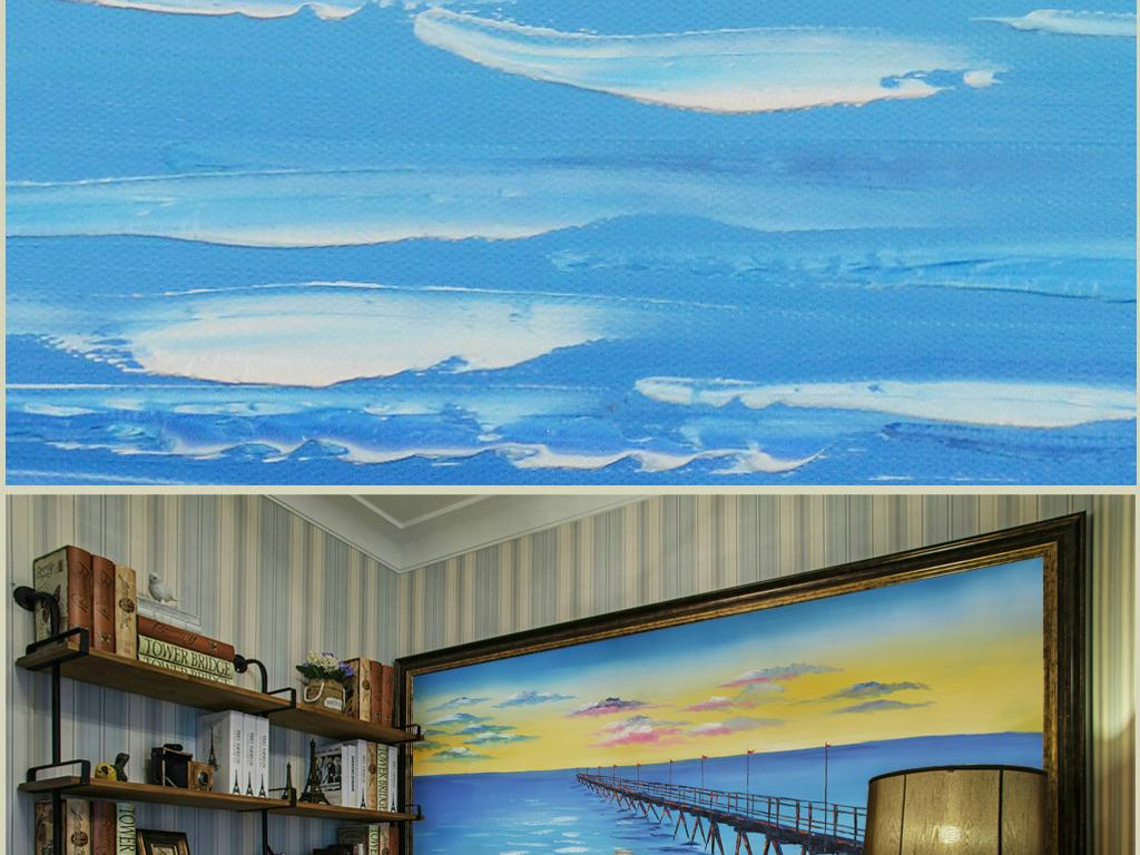 黄昏海桥纯手绘艺术装饰油画(横幅)