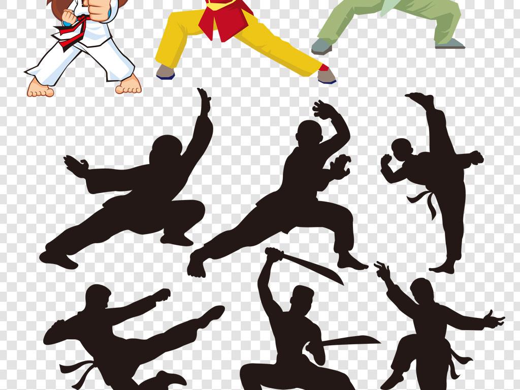 卡通小孩武术培训班武术暑假班传统功夫李小龙功夫剪影武打片人物功夫