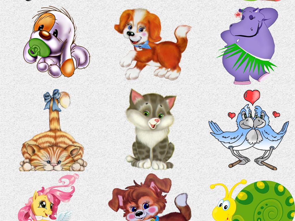 插画素材森系动物可爱动物呆萌动物小男孩卡通狗