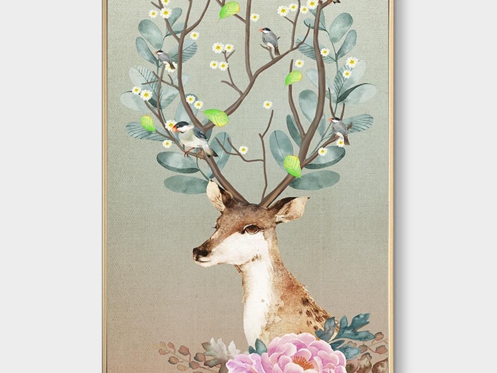 北欧手绘麋鹿装饰画玄关背景墙