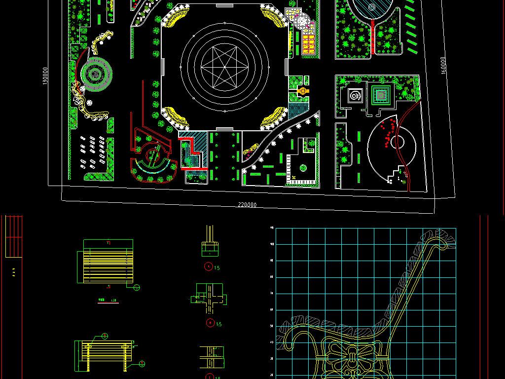 三套园林景观CAD平面设计图