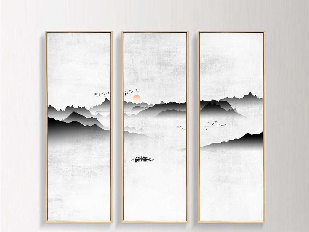 新中式现代意境水墨山水画客厅装饰画挂画
