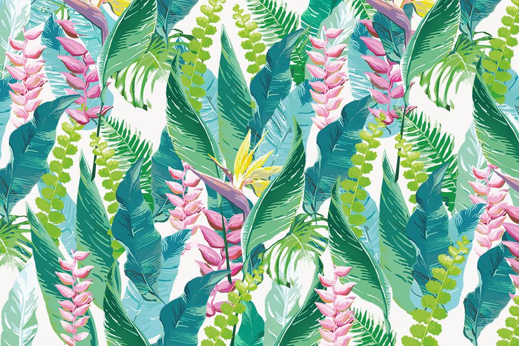 墙纸墙贴现代简约花卉手绘花卉手绘背景热带电视背景热带花卉热带雨林