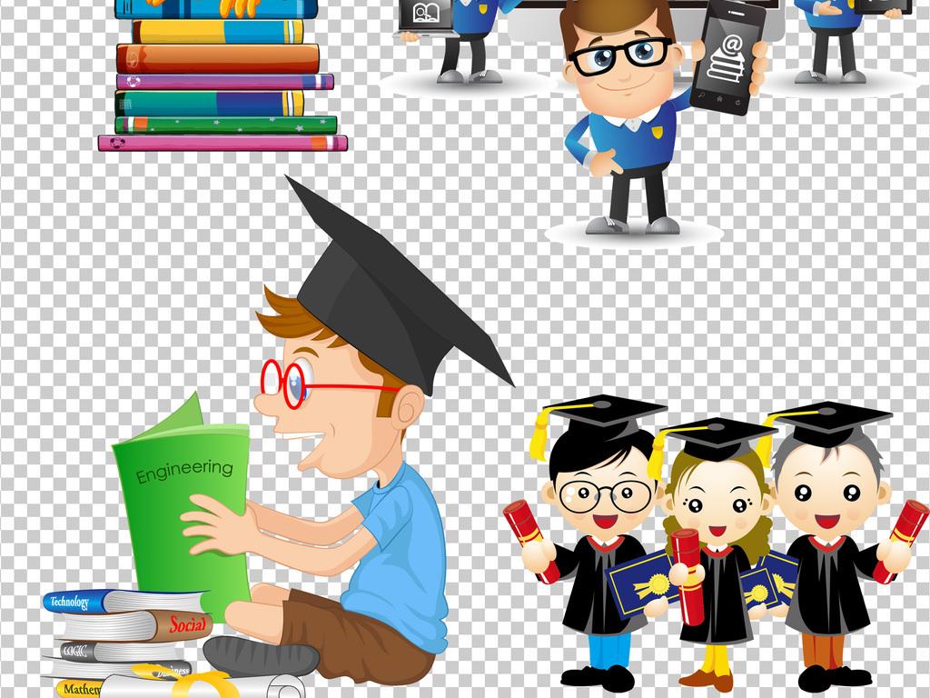 毕业照卡通背景卡通人物人物素材透明背景卡通素材博士帽人物素材卡通