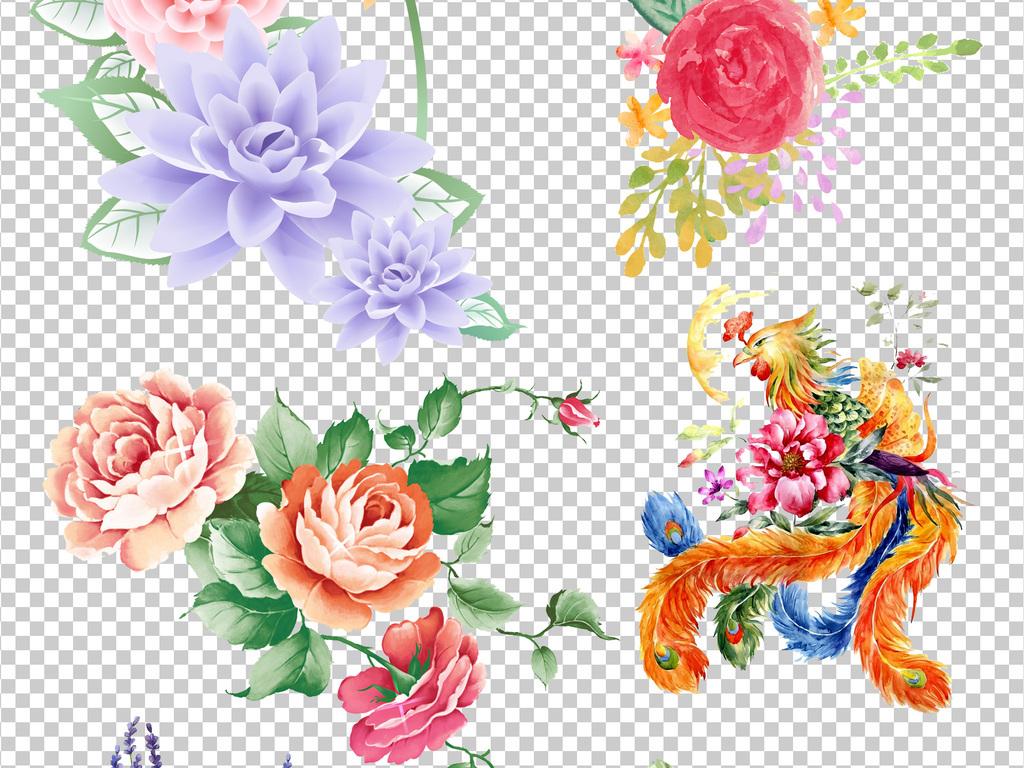 设计元素 自然素材 花卉 > 清新手绘花卉小鸟蝴蝶绿叶png素材  版权