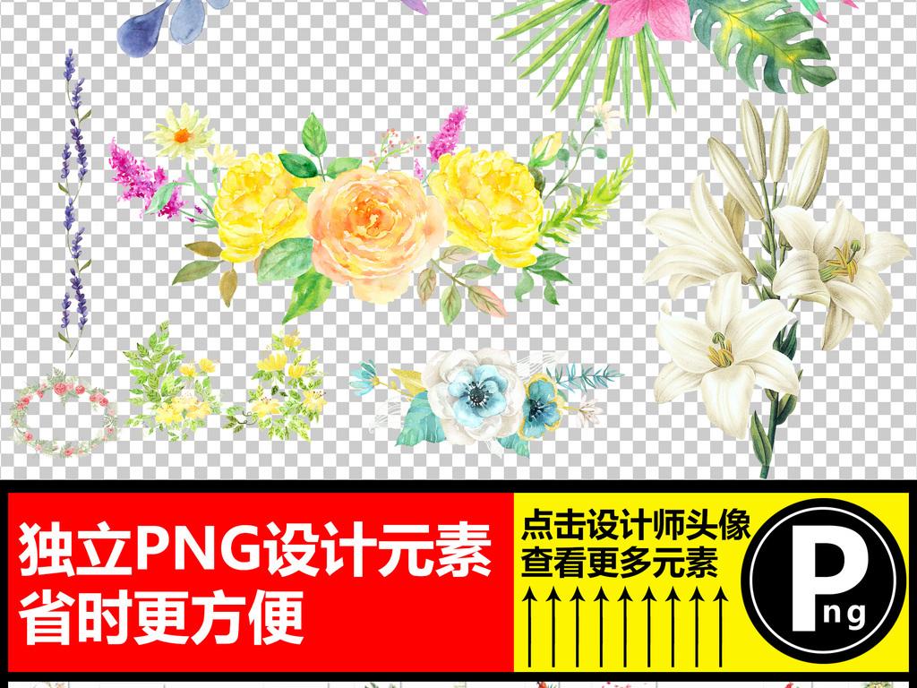 清新手绘花卉小鸟蝴蝶绿叶png素材