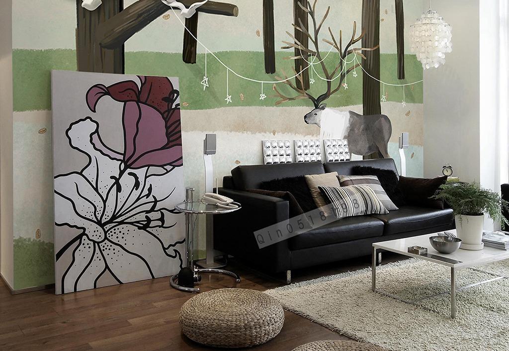 背景墙|装饰画 电视背景墙 手绘电视背景墙 > 北欧森林麋鹿手绘背景墙