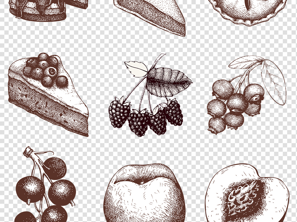 果酱草莓派苹果派手绘食物华夫饼食品素材食物