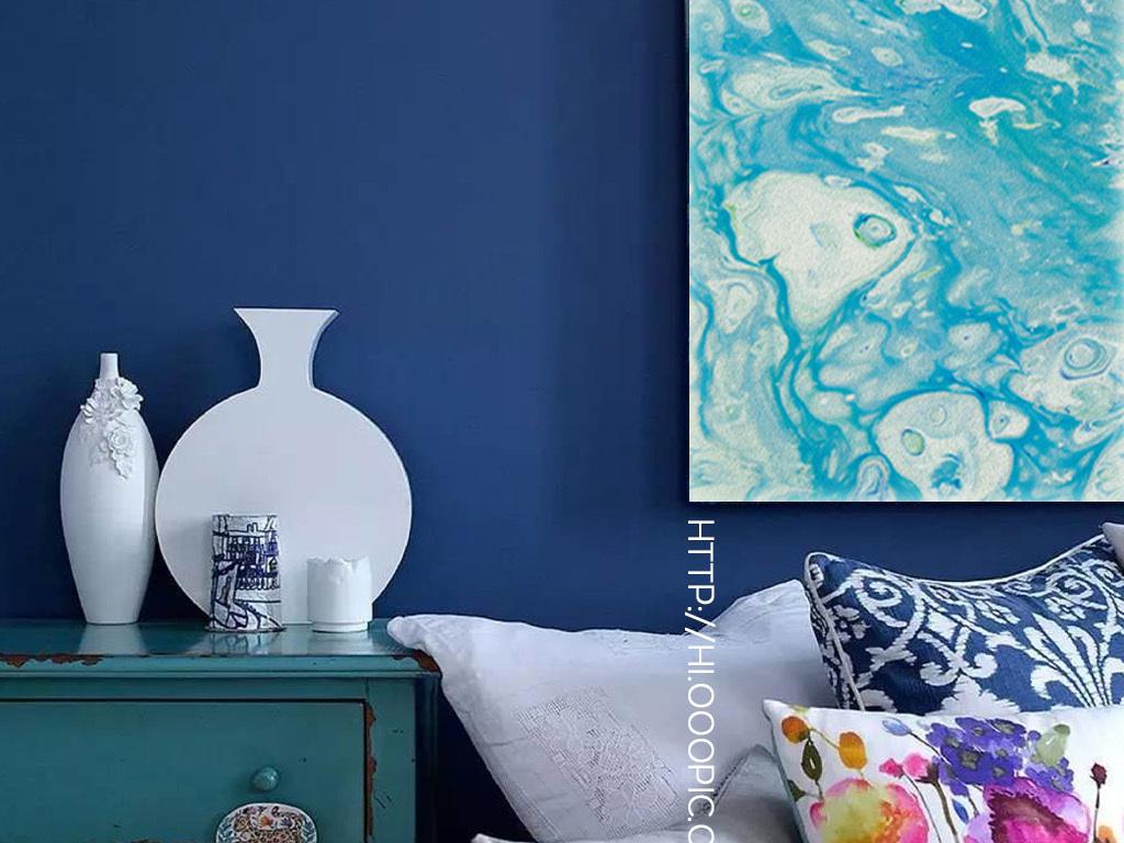 蓝色现代生命之源创意手绘抽象油画装饰画