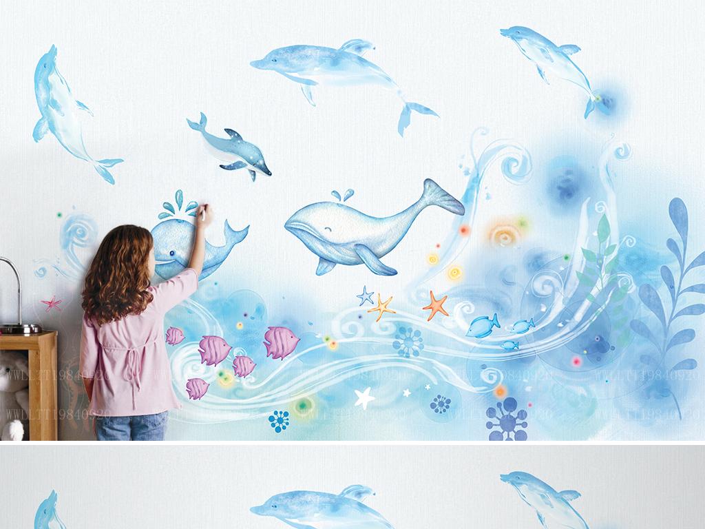 可爱卡通鲸鱼海底动物手绘儿童房背景墙壁画