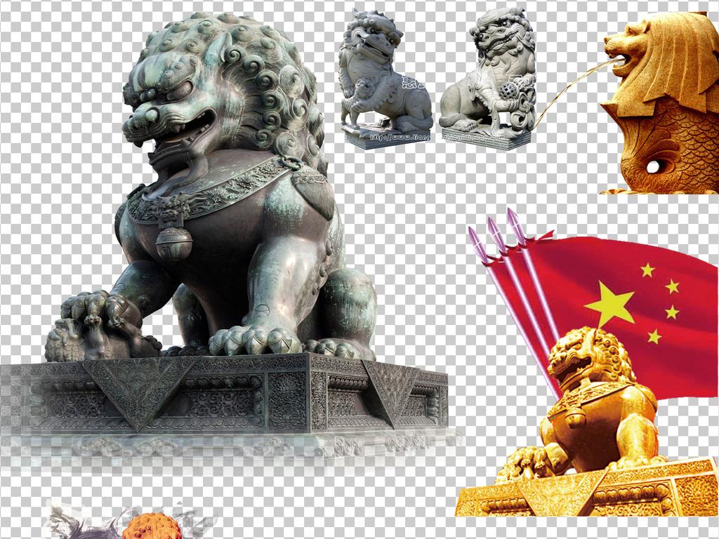 古代石狮子中国风设计海报素材图片