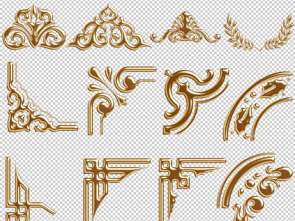 金色欧式花边花纹边框png免扣素材图片