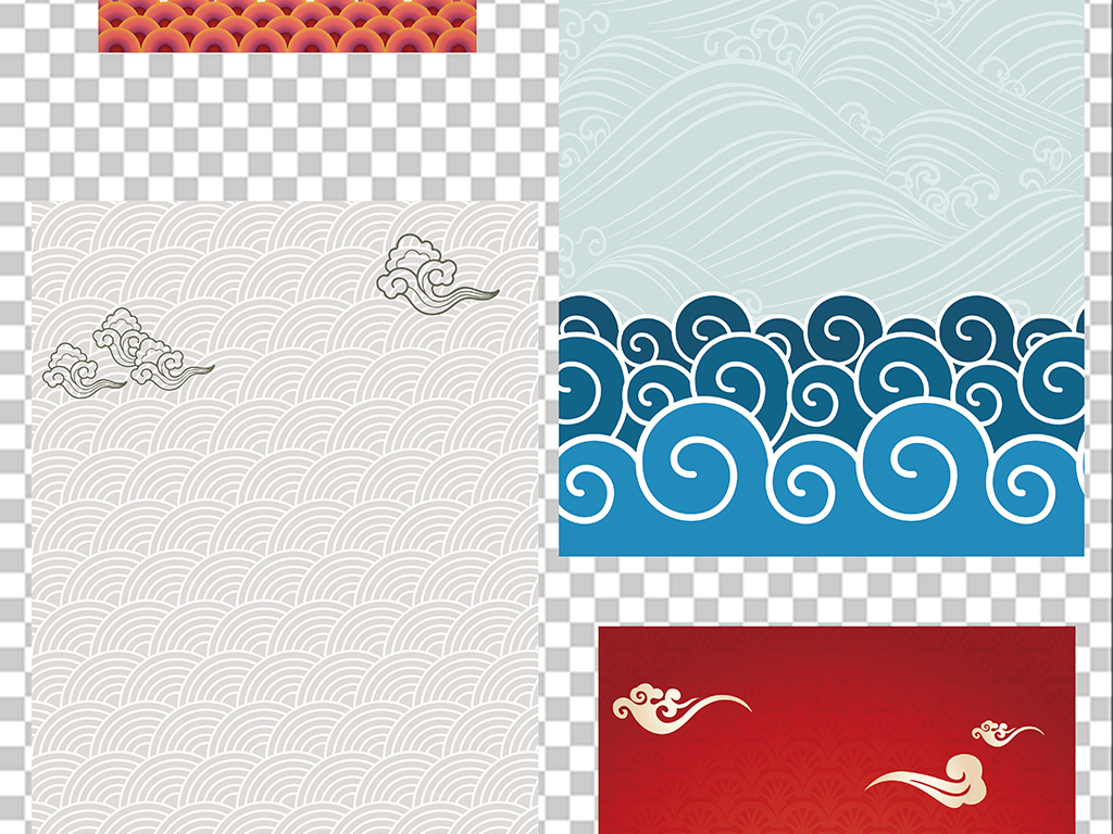 中式古典花纹边框边角花边素材