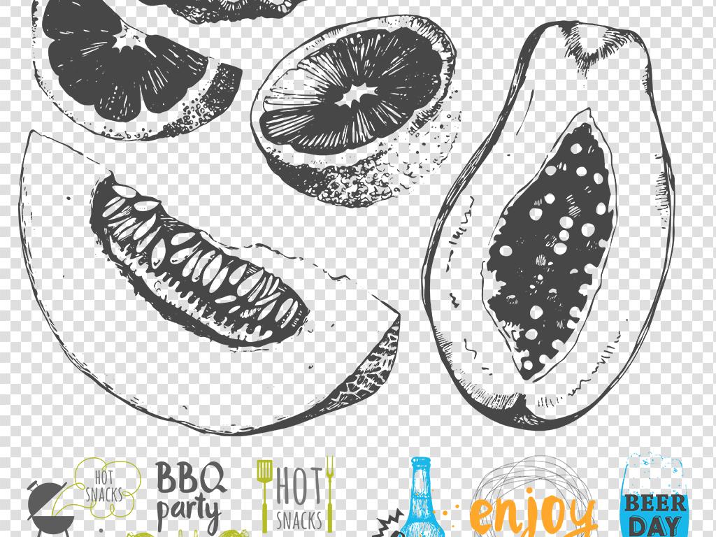 手绘食品透明图彩绘食物png免扣图片素材