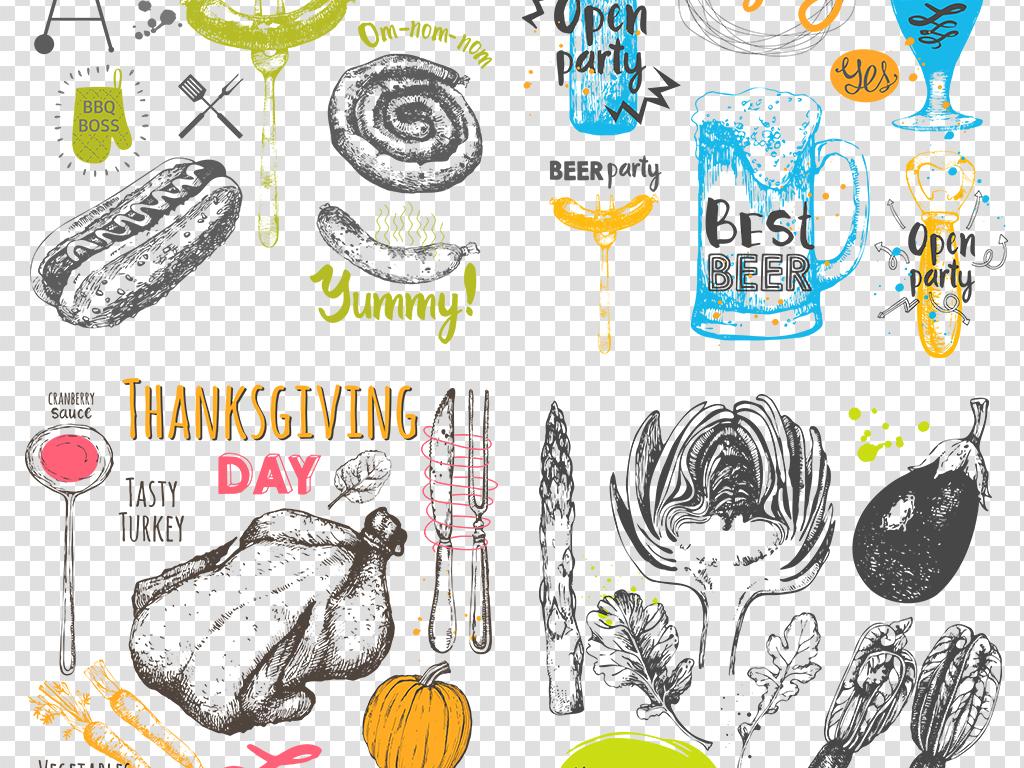 手绘素材彩绘素材食品涂鸦西式料理彩绘食物图片素材透明图食物手绘