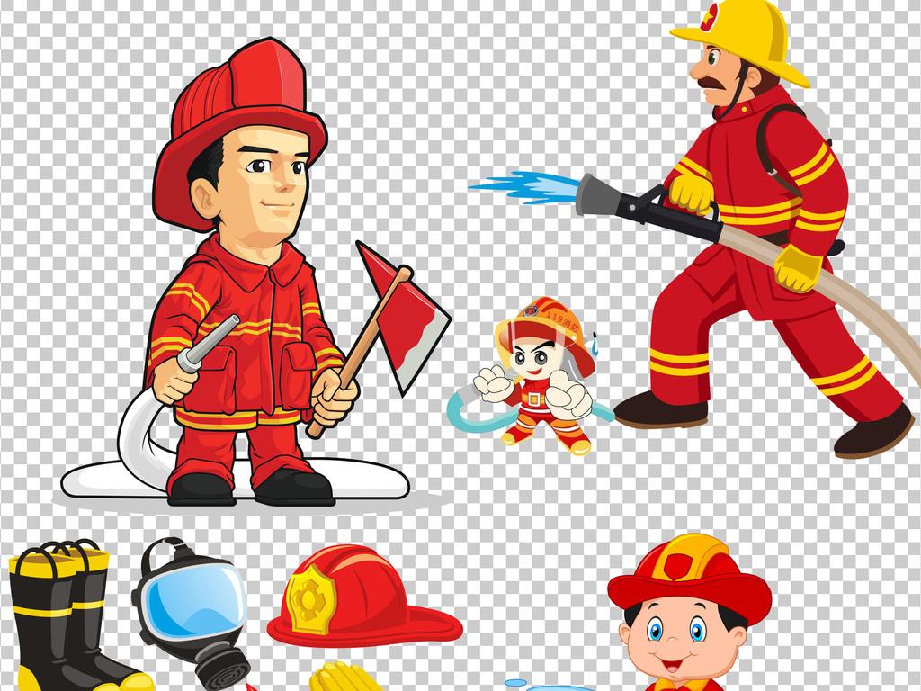 卡通消防员消防安全灭火警钟救火PNG素材图片下载png素材 帅哥