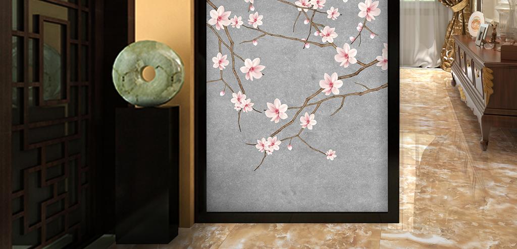 花手绘工笔花鸟新中式玄关背景墙装饰画图片