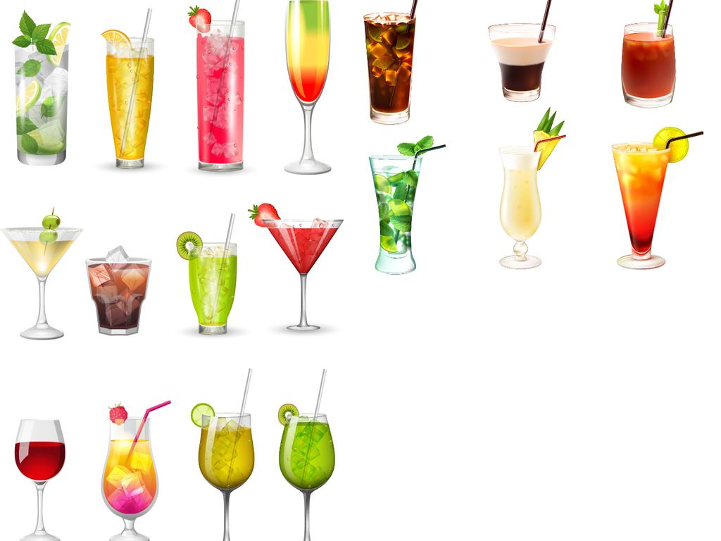 psd)手绘饮料素材矢量水彩饮品素材矢量手绘果汁矢量素材手绘冰激凌