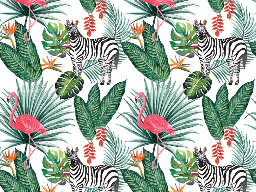 水彩手绘热带动物植物eps矢量设计素材