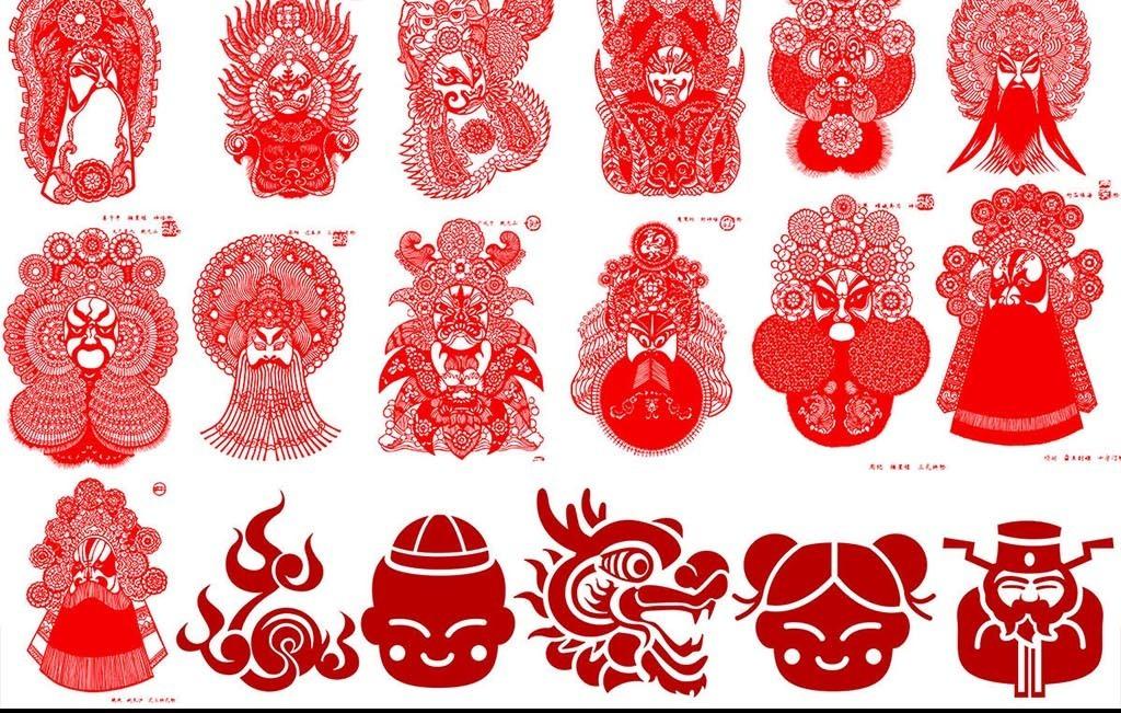京剧脸谱人物剪纸设计