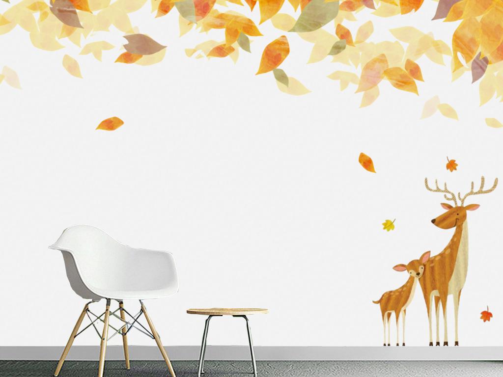 背景墙|装饰画 电视背景墙 手绘电视背景墙 > 抽象立体卡通枫叶麋鹿