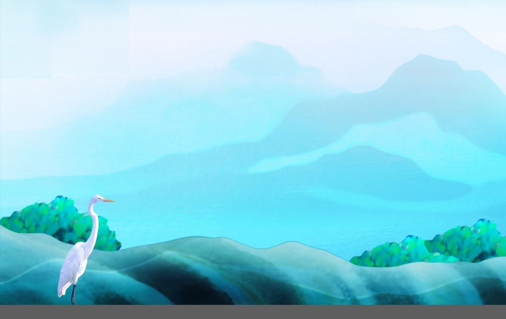 画电视背景墙壁画油画手绘玄关背景墙电视墙中国风插画山水画壁纸背景