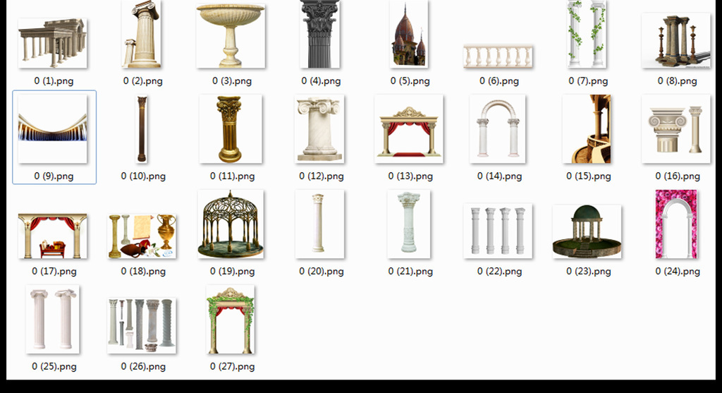 欧式罗马柱建筑柱子元素png素材图片