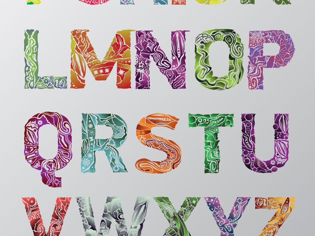 手绘卡通数字字母元素矢量设计素材
