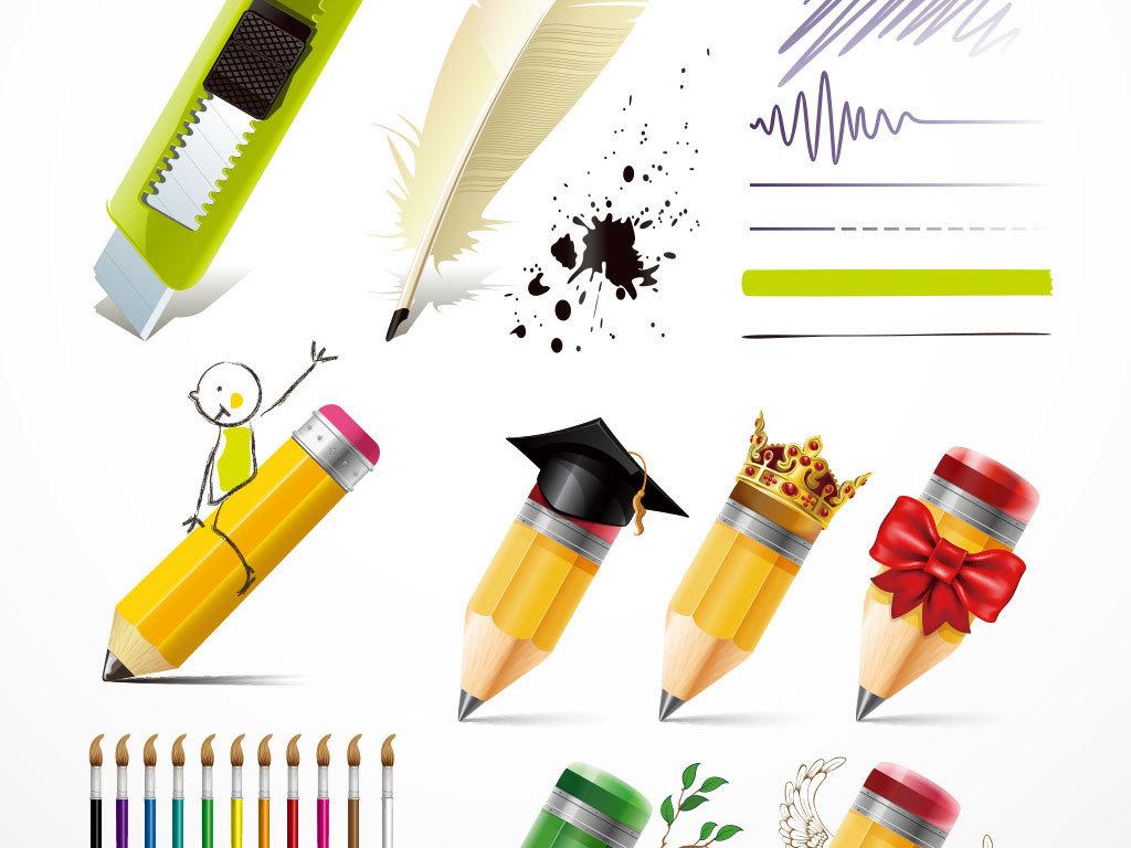 卡通png设计元素彩色铅笔绘画图片铅笔手绘画铅笔绘画彩色铅笔绘画