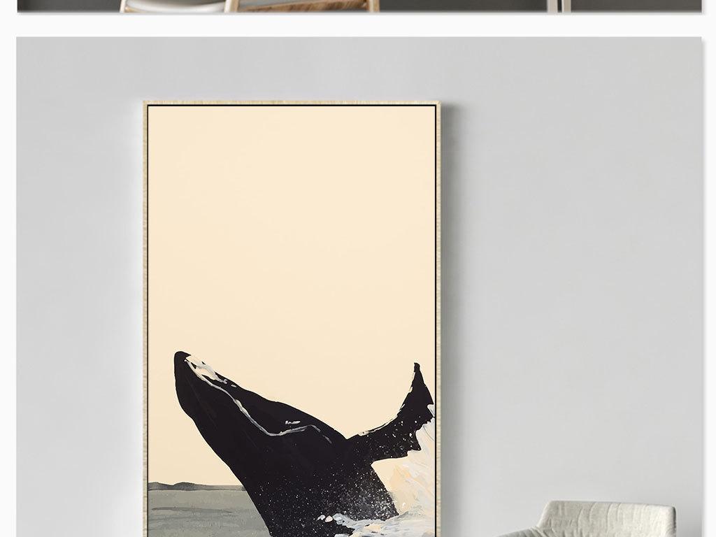 手绘卡通鲸鱼大海帆船无框画装饰画玄关