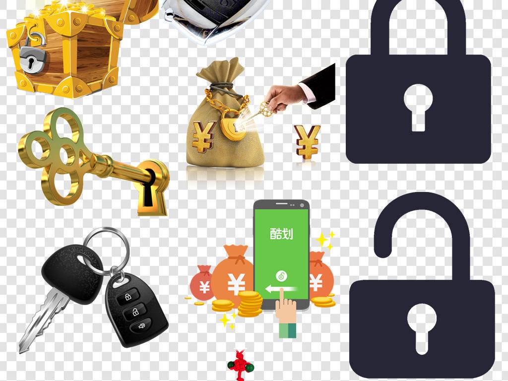 卡通手绘锁安全设备png海报素材