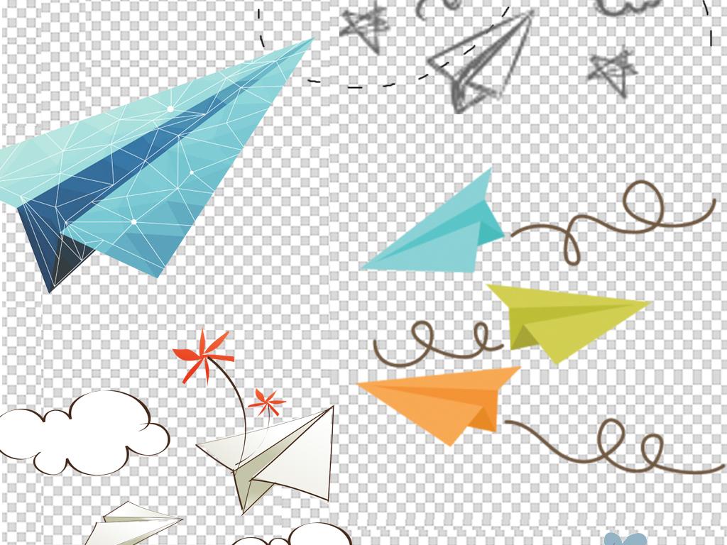 卡通纸飞机童趣海报png素材