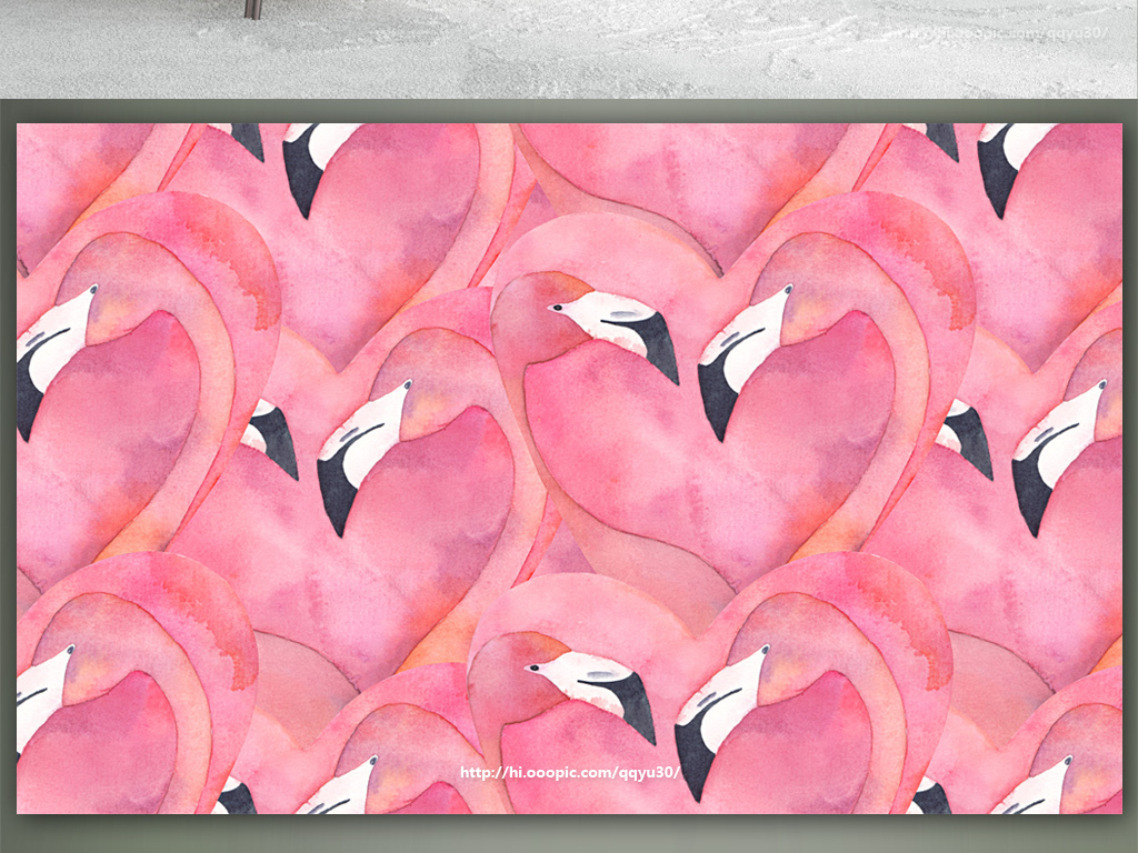 北欧水彩手绘火烈鸟背景墙