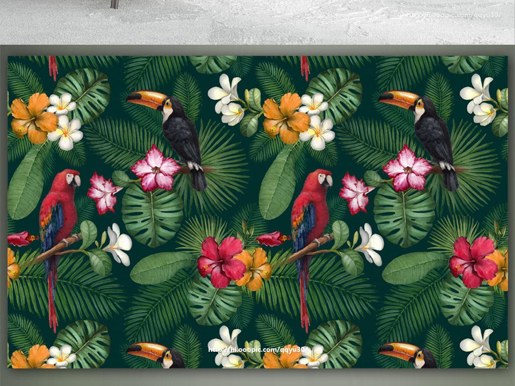 北欧绿色植物花鸟手绘背景墙