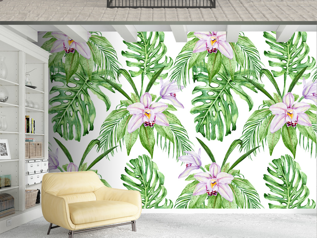 北欧小清新手绘植物绿叶背景墙