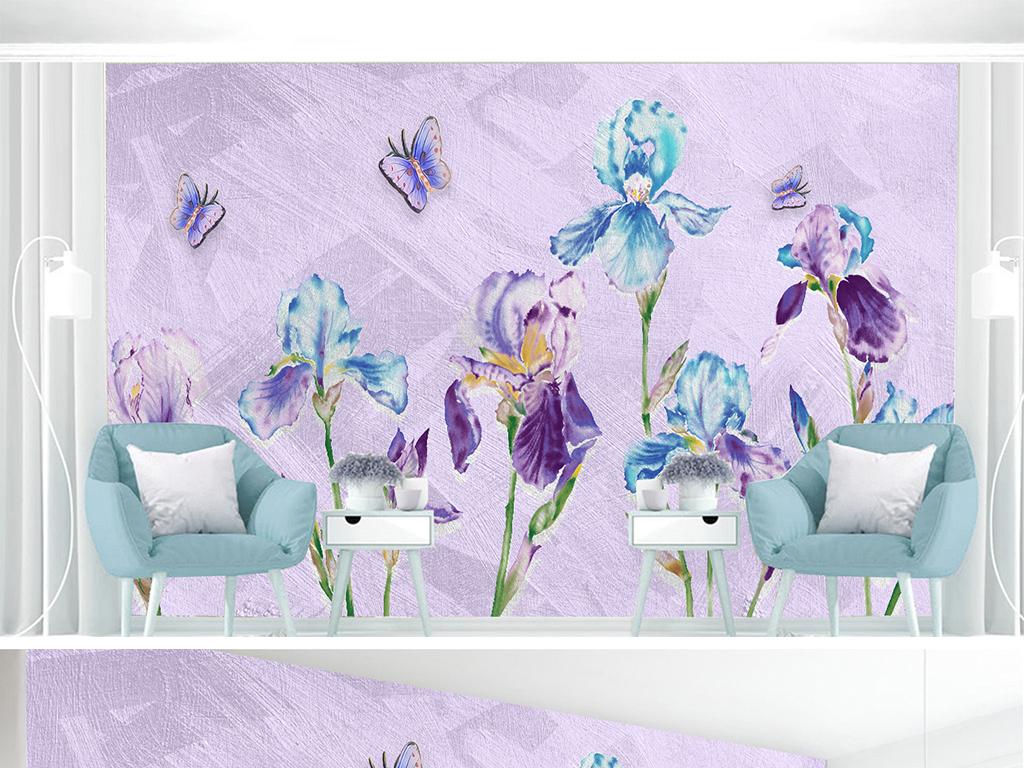 浪漫兰花花束手绘油画水粉壁画背景墙