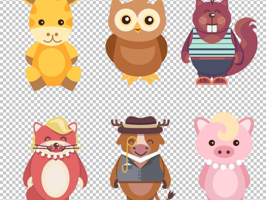 12款可爱卡通动物psd分层素材