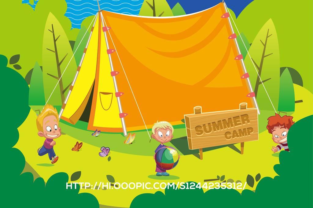 现代简约时尚卡通夏令营暑期特训班展板海报